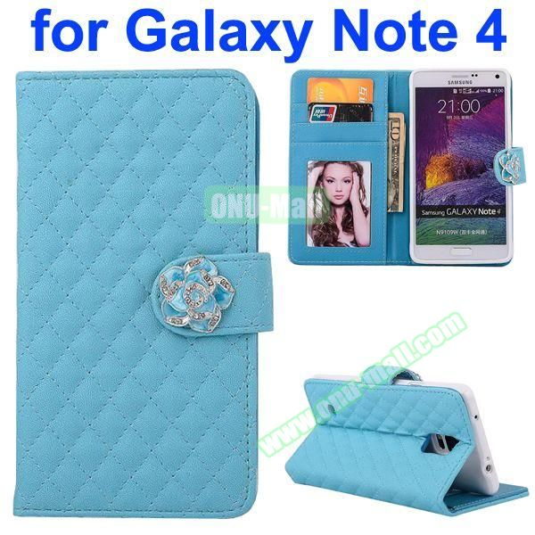 Grid Pattern Flip Lambskin Leather Case for Samsung Galaxy Note 4 with Card Slots, Photo Slots and Flower Buckle (Blue)