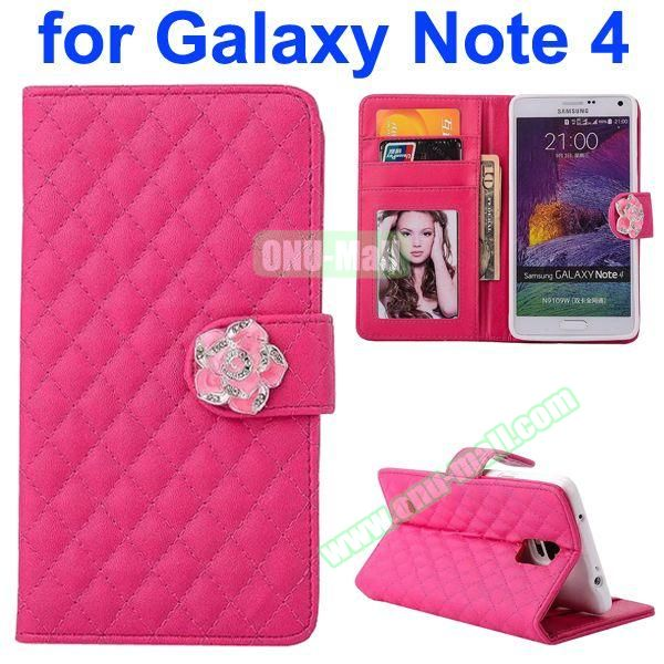 Grid Pattern Flip Lambskin Leather Case for Samsung Galaxy Note 4 with Card Slots, Photo Slots and Flower Buckle (Rose)