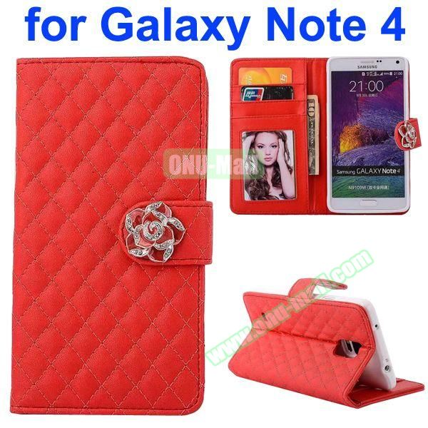 Grid Pattern Flip Lambskin Leather Case for Samsung Galaxy Note 4 with Card Slots, Photo Slots and Flower Buckle (Red)