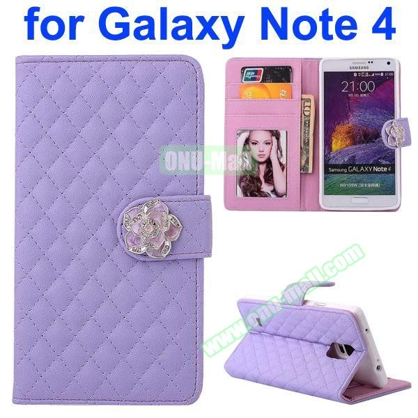 Grid Pattern Flip Lambskin Leather Case for Samsung Galaxy Note 4 with Card Slots, Photo Slots and Flower Buckle (Light Purple)