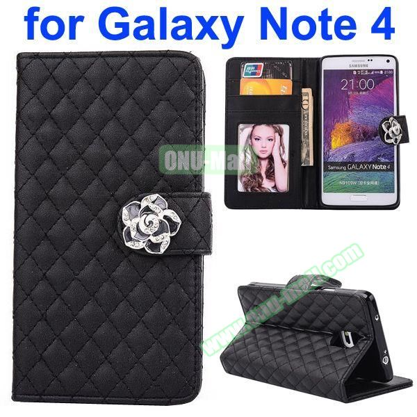 Grid Pattern Flip Lambskin Leather Case for Samsung Galaxy Note 4 with Card Slots, Photo Slots and Flower Buckle (Black)