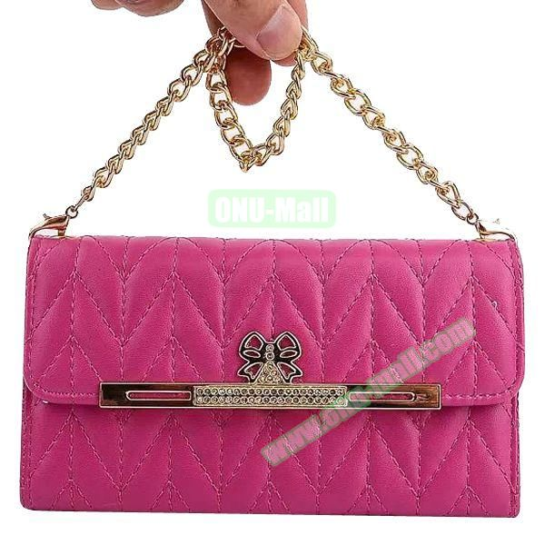 Wallet Style Leather Case for Samsung Galaxy Note 4 with Two Chains (Rose)