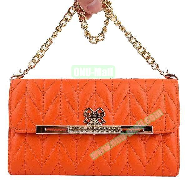 Wallet Style Leather Case for Samsung Galaxy Note 4 with Two Chains (Orange)