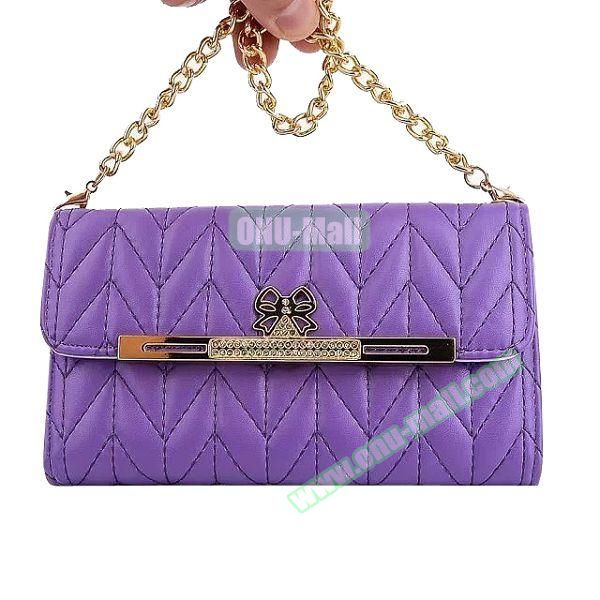 Wallet Style Leather Case for Samsung Galaxy Note 4 with Two Chains (Purple)