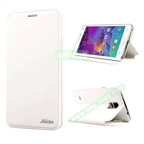 Retro Style Flip Stand Leather Case for Samsung Galaxy Note 4 N9100 (White)