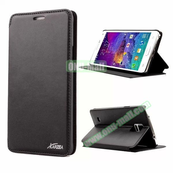 Retro Style Flip Stand Leather Case for Samsung Galaxy Note 4 N9100 (Black)