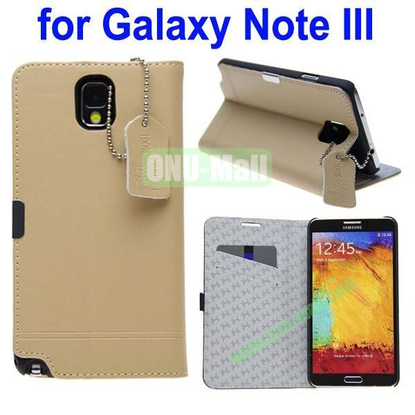 Genuine Leather Case for Samsung Galaxy Note 3N9000 with Holder and Card Slot(Yellow)
