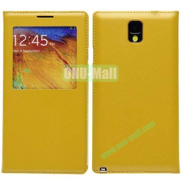 Newest Leather Battery Back Cover for Samsung Galaxy Note 3N9000 with Screen Window(Yellow)