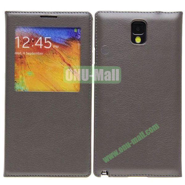 Newest Leather Battery Back Cover for Samsung Galaxy Note 3N9000 with Screen Window(Grey)