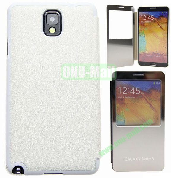 Delicate Pure Color Leather Case for Samsung Galaxy Note 3N9000 with Mirror (White)