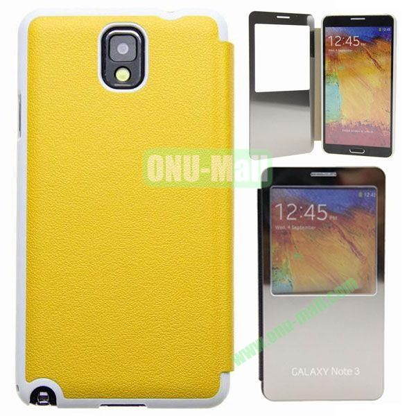 Delicate Pure Color Leather Case for Samsung Galaxy Note 3N9000 with Mirror (Yellow)