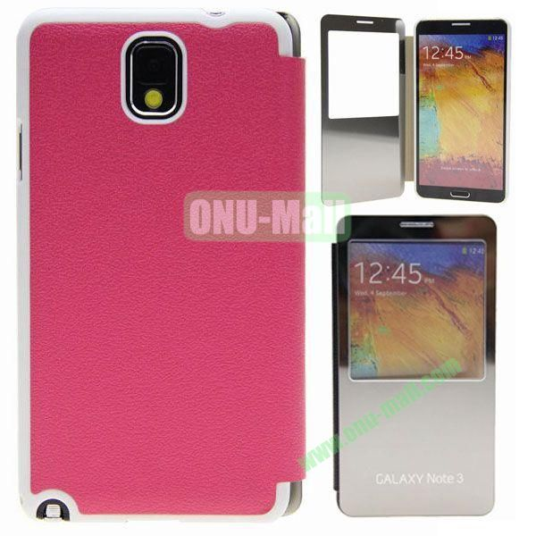 Delicate Pure Color Leather Case for Samsung Galaxy Note 3N9000 with Mirror (Rose)