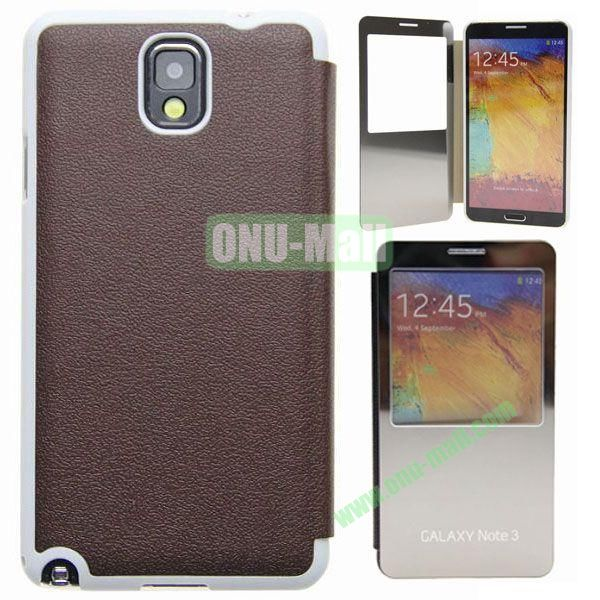 Delicate Pure Color Leather Case for Samsung Galaxy Note 3N9000 with Mirror (Brown)