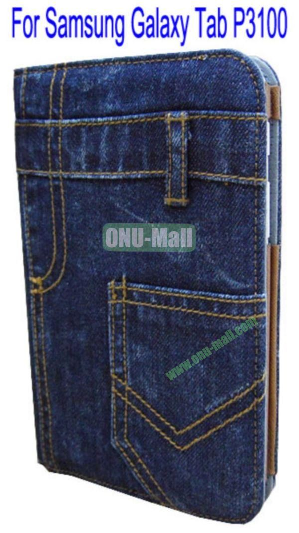Wallet Jean Leather Stand Case Cover for Samsung Galaxy Tab P3100(Dark Blue)