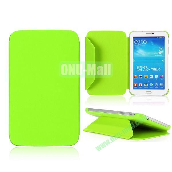 Cloth Texture Design Flip Stand PC+ Leather Case for Samsung Galaxy Tab 3 7.0  P3200 (Green)