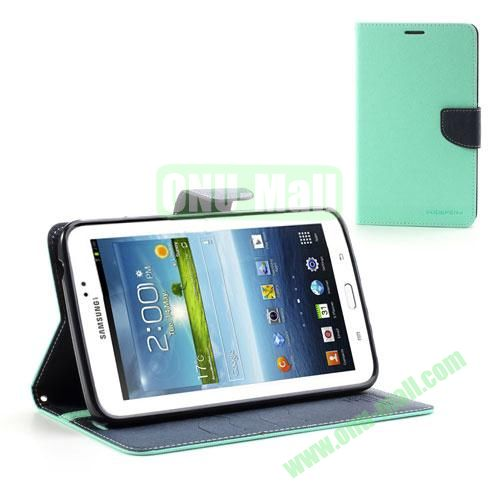 Mercury Goospery Cross Texture Wallet Leather Cover for Samsung Galaxy Tab 3 7.0 P3200 P3210 (Blue)