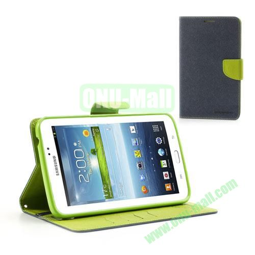 Mercury Goospery Cross Texture Wallet Leather Cover for Samsung Galaxy Tab 3 7.0 P3200 P3210 (Dark Blue)