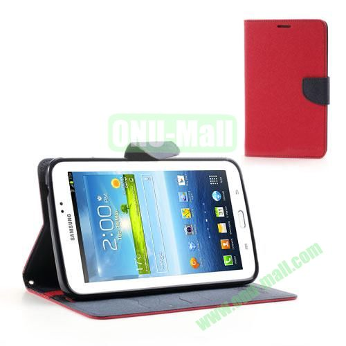 Mercury Goospery Cross Texture Wallet Leather Cover for Samsung Galaxy Tab 3 7.0 P3200 P3210 (Red)