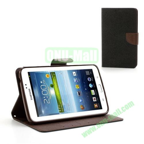 Mercury Goospery Cross Texture Wallet Leather Cover for Samsung Galaxy Tab 3 7.0 P3200 P3210 (Black+Brown)