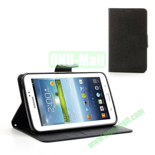Mercury Goospery Cross Texture Wallet Leather Cover for Samsung Galaxy Tab 3 7.0 P3200 P3210 (Black)