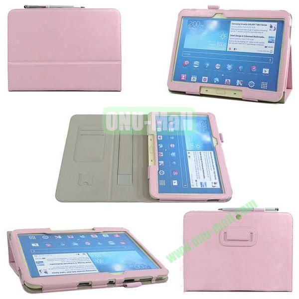 PU Leather Case Cover for Samsung GALAXY Tab 3(GT-P5200)with Card Slots and Pen Holder(Pink)