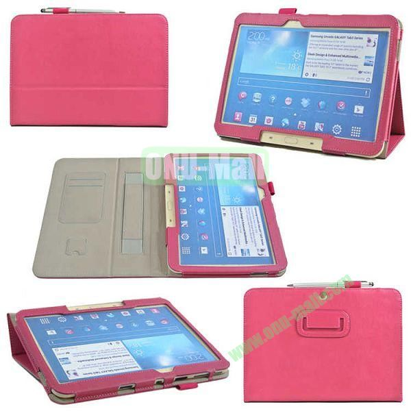 PU Leather Case Cover for Samsung GALAXY Tab 3(GT-P5200)with Card Slots and Pen Holder(Rose)