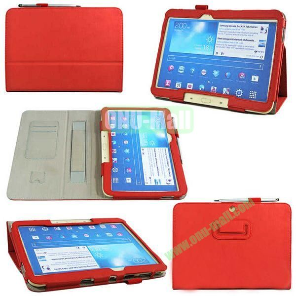 PU Leather Case Cover for Samsung GALAXY Tab 3(GT-P5200)with Card Slots and Pen Holder(Red)