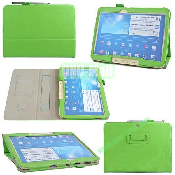 PU Leather Case Cover for Samsung GALAXY Tab 3(GT-P5200)with Card Slots and Pen Holder(Green)