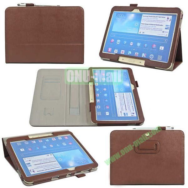 PU Leather Case Cover for Samsung GALAXY Tab 3(GT-P5200)with Card Slots and Pen Holder(Brown)