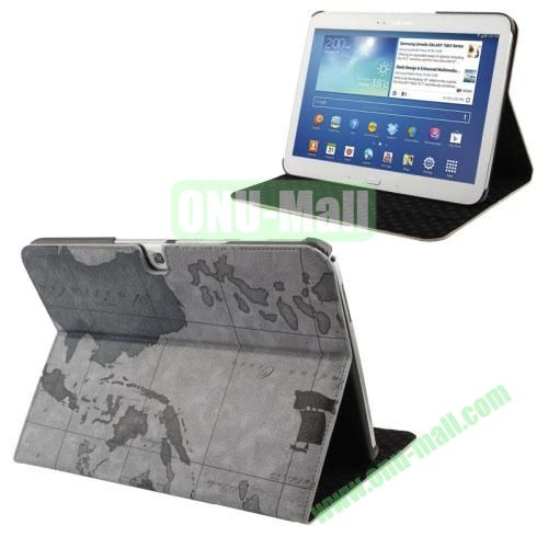 New Arrival Map Pattern Leather Case for Samsung Galaxy Tab 3 (10.1)  P5200  P5210 with 3 Gears Holder (Grey)