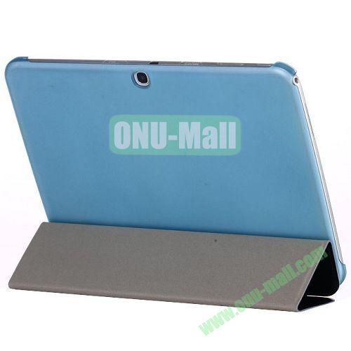3 Folding Smart Leather Cover Back Transparent Shell for Samsung Tab 3 10.1P5200 (Black+Blue)