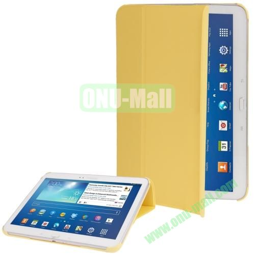 Cloth Texture Horizontal Flip Leather Case for Samsung Galaxy Tab 3 (10.1)  P5200  P5210 with Holder (Yellow)