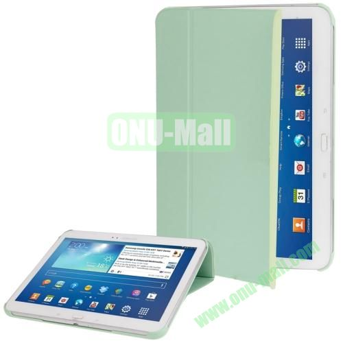 Cloth Texture Horizontal Flip Leather Case for Samsung Galaxy Tab 3 (10.1)  P5200  P5210 with Holder (Green)