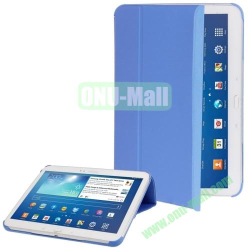 Cloth Texture Horizontal Flip Leather Case for Samsung Galaxy Tab 3 (10.1)  P5200  P5210 with Holder (Blue)