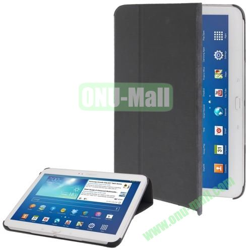 Cloth Texture Horizontal Flip Leather Case for Samsung Galaxy Tab 3 (10.1)  P5200  P5210 with Holder (Black)