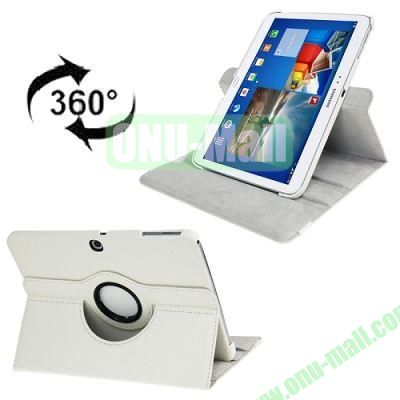 360 Degree Rotating Lichi Texture Leather Case for Samsung Galaxy Tab 3 (10.1)  P5200  P5210 with Holder (White)