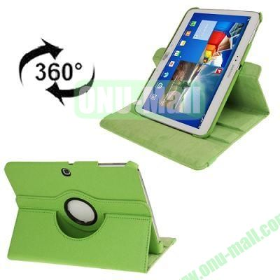 360 Degree Rotating Lichi Texture Leather Case for Samsung Galaxy Tab 3 (10.1)  P5200  P5210 with Holder (Green)