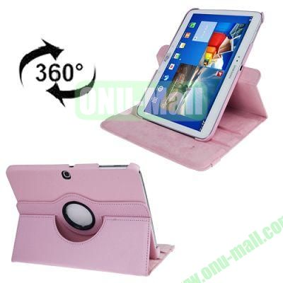 360 Degree Rotating Lichi Texture Leather Case for Samsung Galaxy Tab 3 (10.1)  P5200  P5210 with Holder (Pink)