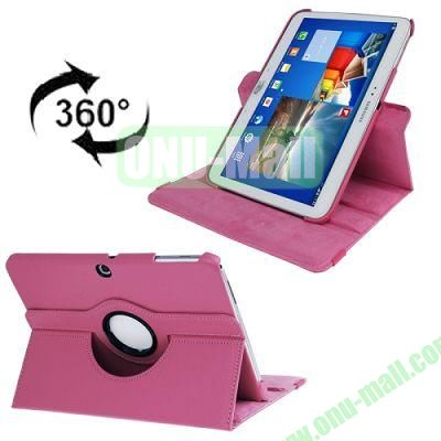 360 Degree Rotating Lichi Texture Leather Case for Samsung Galaxy Tab 3 (10.1)  P5200  P5210 with Holder (Rose)