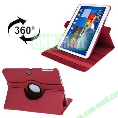 360 Degree Rotating Lichi Texture Leather Case for Samsung Galaxy Tab 3 (10.1)  P5200  P5210 with Holder (Red)