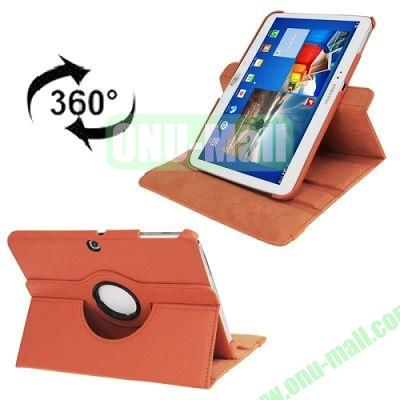 360 Degree Rotating Lichi Texture Leather Case for Samsung Galaxy Tab 3 (10.1)  P5200  P5210 with Holder (Orange)