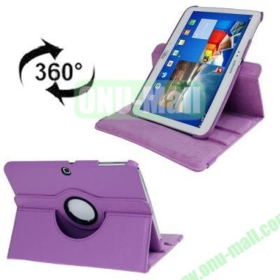 360 Degree Rotating Lichi Texture Leather Case for Samsung Galaxy Tab 3 (10.1)  P5200  P5210 with Holder (Purple)