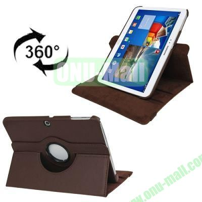360 Degree Rotating Lichi Texture Leather Case for Samsung Galaxy Tab 3 (10.1)  P5200  P5210 with Holder (Brown)
