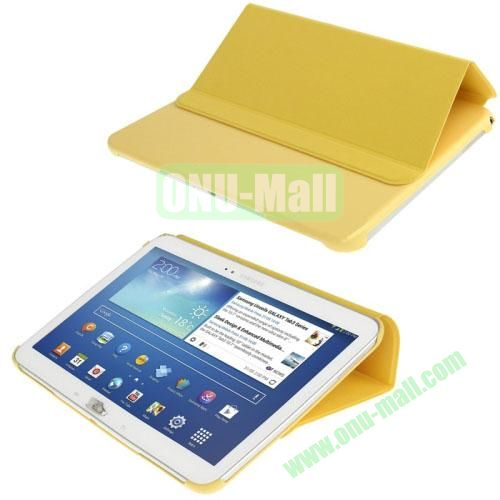 Cloth Texture Horizontal Flip Leather Case for Samsung Galaxy Tab 3 10.1 P5200P5210 with Holder (Yellow)