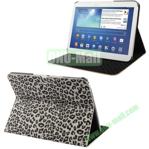 Fashionable Leopard Pattern Leather Case for Samsung Galaxy Tab 3 10.1 P5200P5210 with 3 Gears Holder (White)