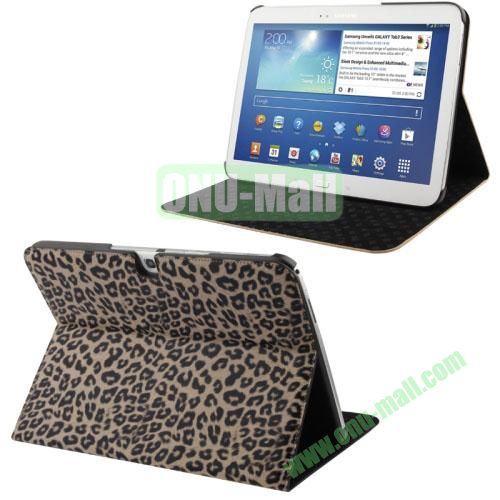 Fashionable Leopard Pattern Leather Case for Samsung Galaxy Tab 3 10.1 P5200P5210 with 3 Gears Holder (Light Yellow)