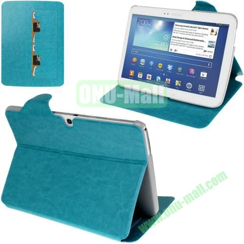 New Arrival Crazy Horse Texture Leather Flip Case for Samsung Galaxy Tab 3 P5200  P5210 With Holder and Wallet & Wake-up Function (Blue)