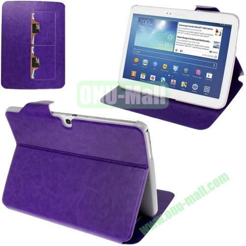 New Arrival Crazy Horse Texture Leather Flip Case for Samsung Galaxy Tab 3 P5200  P5210 With Holder and Wallet & Wake-up Function (Purple)
