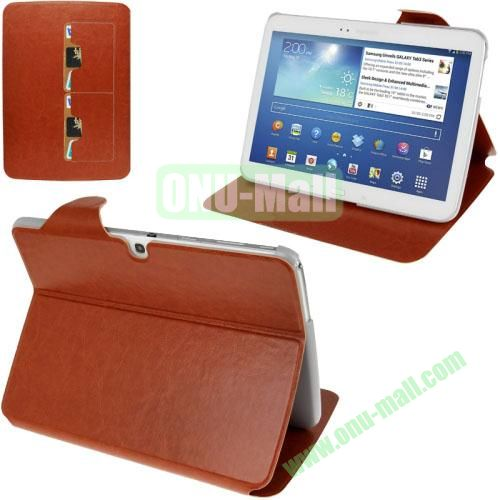 New Arrival Crazy Horse Texture Leather Flip Case for Samsung Galaxy Tab 3 P5200  P5210 With Holder and Wallet & Wake-up Function (Brown)