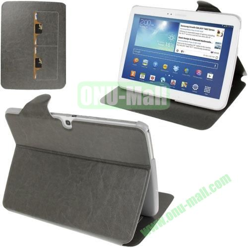New Arrival Crazy Horse Texture Leather Flip Case for Samsung Galaxy Tab 3 P5200  P5210 With Holder and Wallet & Wake-up Function (Grey)